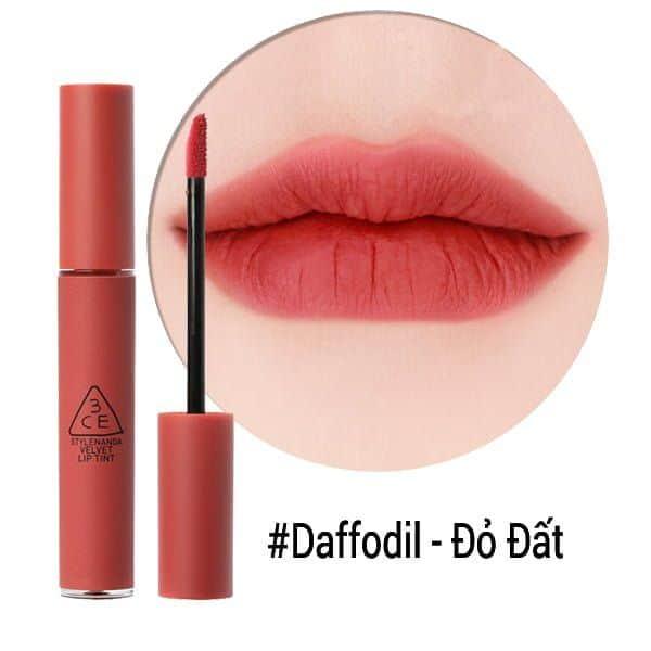 Son 3CE Velvet Lip Tint Daffodil- Màu Đỏ Đất